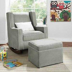 A Imagem Está Carregando Gray Rocking Chair Nursery  Furniture Baby Kids Relax