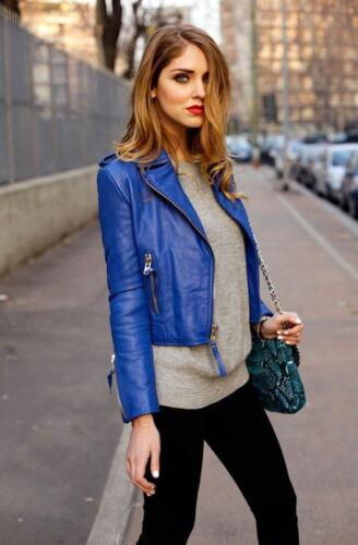 Fit Blue Jacket ekte Kvinners Slim Lambskinn Motorsykkel Biker Leather Designer 0dzXRd
