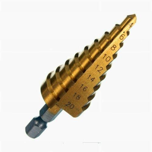 "3 pcs 4-12//20//32mm HSS 4241 Step Cone Conical Drill Bit Set Hole Hex 1//4/"" Shank"