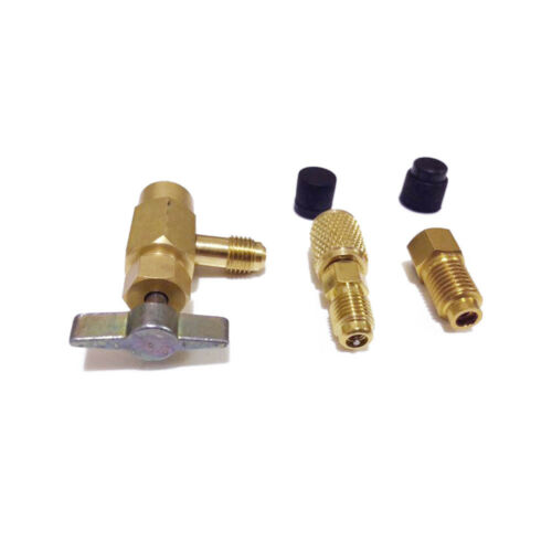 """5Pcs R1234yf R134a R12 Refrigerant Can Tap Adapter Fittings 1//4SAE 1//2/"""" ACME Kit"""