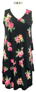 SUSAN-GRAVER-size-PXS-black-floral-Liquid-Knit-layered-sleeveless-maxi-dress
