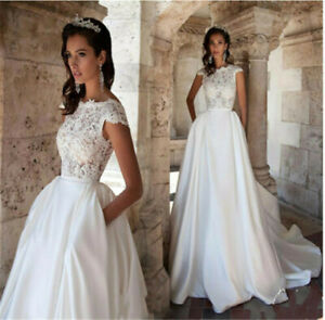 d046New White//ivory lace  Wedding dress Bridal Gown custom size2 4 6 8 10++