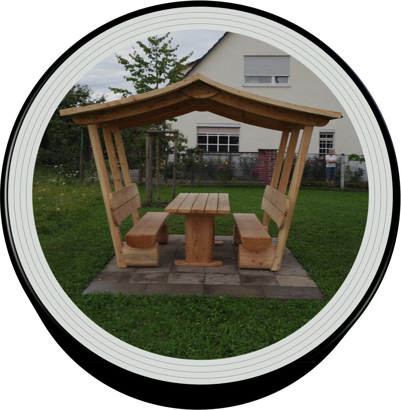 Holzmöbel.Sitzmöbel.Sitzgruppe aus holz.Pavillon.Gartenmöbe mit Dach.