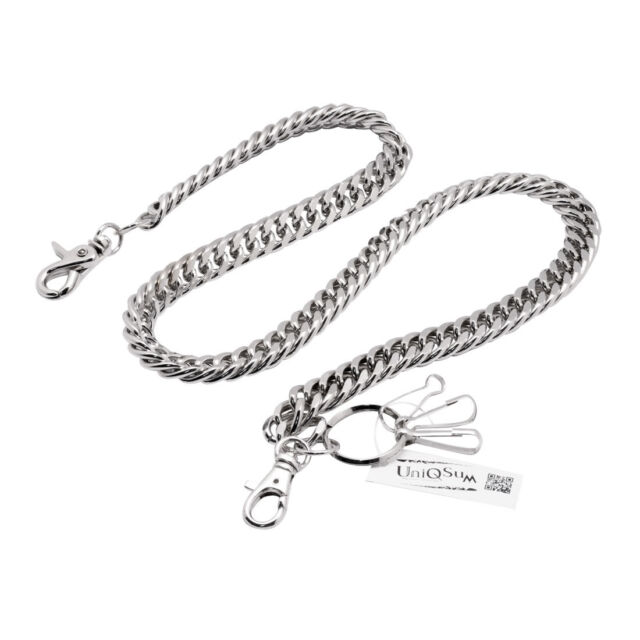 Short Thick Metal Round Coil Link Jean Key Wallet Chain Keyring