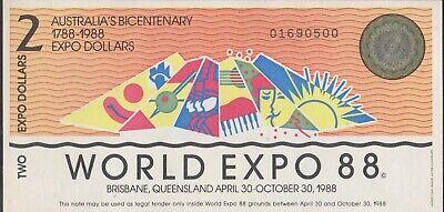 AUSTRALIA 1988 WORLD EXPO 2 /& 5 DOLLAR BICENTENARY UNC NOTE PAIR USA SELLER !!!