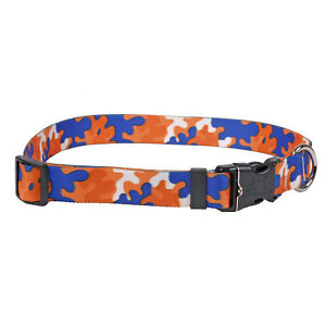 NEW-Orange-amp-Royal-Blue-Dog-and-Cat-Collar-in-Team-Spirit-Camo-by-Yellow-Dog