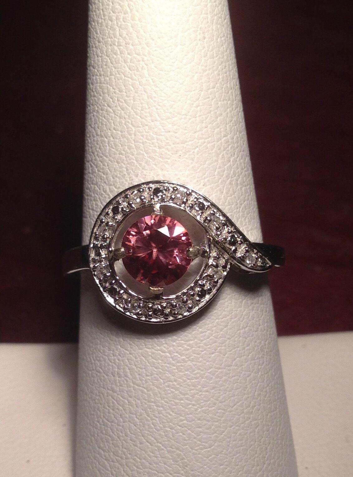 Natural Pink Zircon & Genuine Diamond 10K White gold Ring