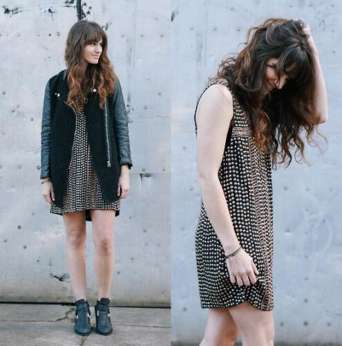 Free People Shifting Gears Black Metal Studded Dress-NWOT