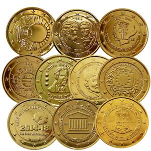 2 Euro Belgien 24 Karat Vergoldet Verschiedene Varianten