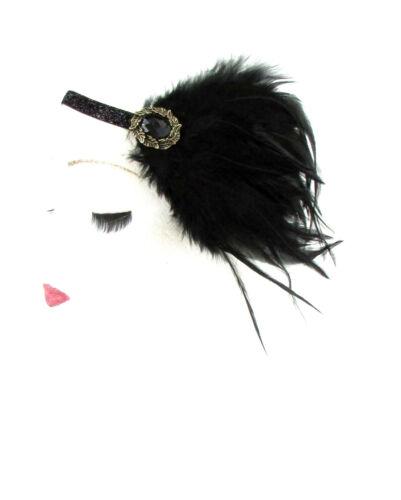 Black gold feather bandeau garçonne 1920s great gatsby bandeau vtg cheveux 539
