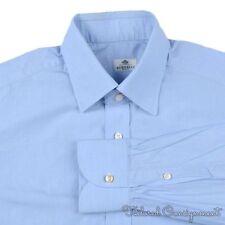 BORRELLI Napoli Solid Blue 100% Cotton MOP BUTTON Mens Luxury Dress Shirt - 16