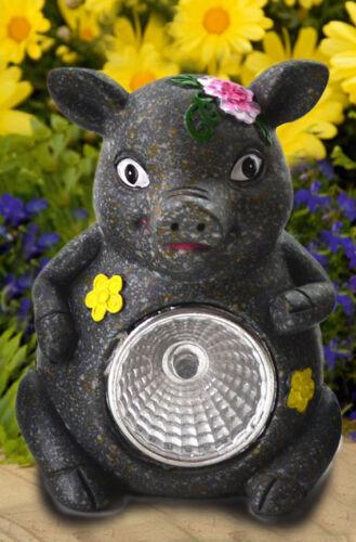 Solar Schwein grau Tier LED Lampe Solarleuchte Solarlampe Gartenfigur Gartendeko