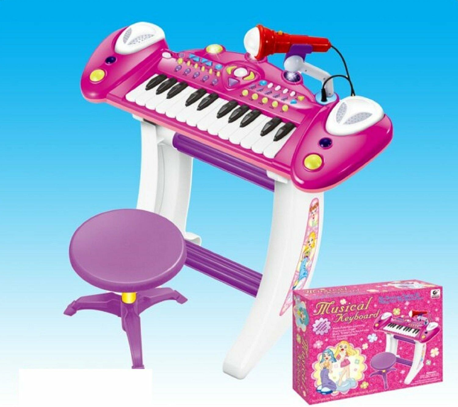 New Kids Electronic 36Key Keyboard Piano With Recording, Stand Microphone, Stool