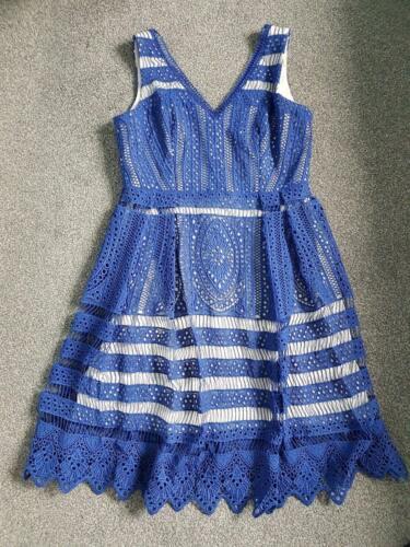 16 huit robe bleue Superbe dentelle royale fois phase une porté de 0RUw55Cx
