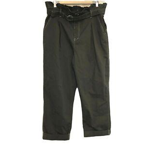 Nuevo Sin Etiquetas Salvaje Fabula Para Mujer Bolsa De Papel Pantalones Capri Recortada Alta Cintura Cinturon Verde Talla 18 Ebay