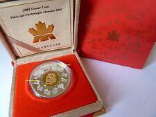 "CANADA 15 Dollar 2001 Silber/Gold - PP -""Lunar Snake/Schlange"""