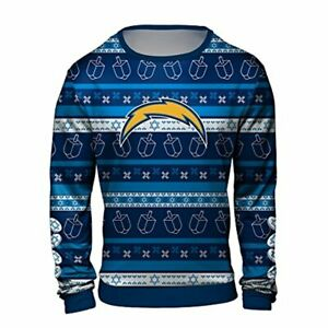 brand new 2abbb 54d5e Details about Forever Collectibles NFL Men's Los Angeles Chargers Hanukkah  Ugly Sweater