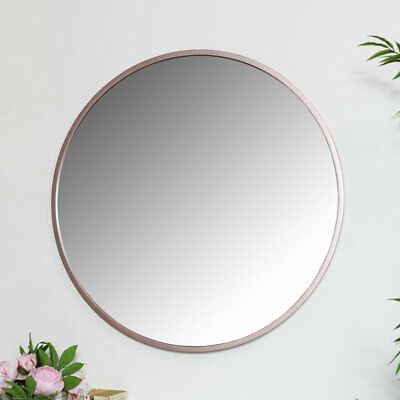 Round Rose Gold Pink Wall Mirror Large Thin Framed Copper