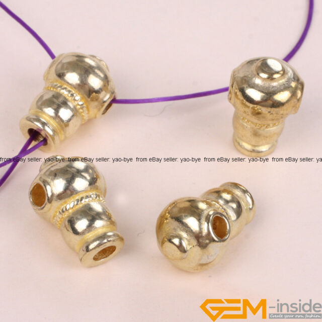 5 pcs Tibetan Silver Carved Guru Beads Gold Plated Craft Findings 8x16mm