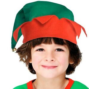 girls boys childrens elf hat with bell christmas festive xmas fancy