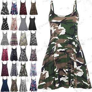 New-Women-Ladies-Camisole-Cami-Flared-Skater-Strappy-Swing-Mini-Dress-Vest-Top