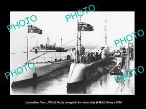 OLD-POSTCARD-SIZE-PHOTO-OF-AUSTRALIAN-NAVY-SUBMARINES-OTWAY-amp-OXLEY-c1930
