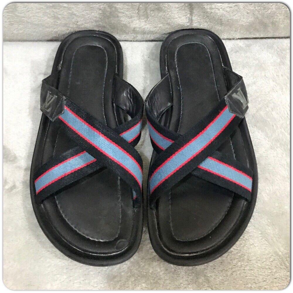 Louis Vuitton leather Canvas Men's Sandals Size 7 - image 4