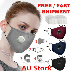 Reusable Cloth Cotton Face Mask PM2.5 Filters 5Layer Guard With Air Breathing