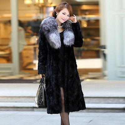 Womens Winter Warm Luxury Fox Fur Collar Mink Fur Full Length Coat Parka Outwear