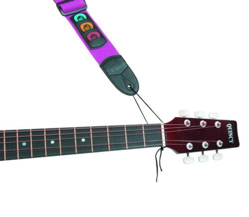 New Purple Cotton Guitar Strap Pick Holder Free Picks Plectrums Slots