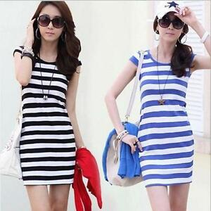 Women-Girls-Short-Sleeve-Round-Neck-Striped-Dress-Casual-Bodycon-Silm-Dresses-W