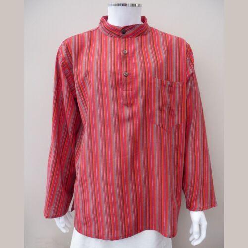 Hippy Casual Unisex Camicia Serafino in Cotone Rosso Righe-Fair Trade Regno Unito Venditore