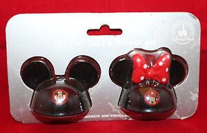 Disney Parks Mickey Mouse Minne Mouse Ear Hat Salt & Pepper Shaker Set Black
