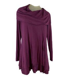 Soft-surroundings-woman-shirt-top-tunic-drape-neck-size-large-Soft-Knit-Plum