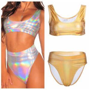 2pcs-Women-Sleeveless-Shiny-Metallic-Tank-Crop-Tops-Panties-Briefs-Bikini-Set