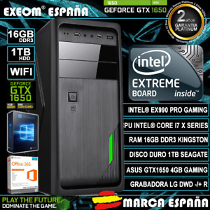 Ordenador Gaming Pc Intel i7X 16GB DDR3 1TB GTX1650 4GB Windows 10 Sobremesa