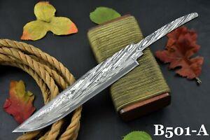 Custom San Mai Damascus Steel Blank Blade Bowie Hunting Knife Handmade (B501-C)