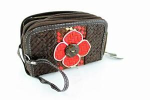 Ladies Women Straw Purse Double Zip Black Red Brown