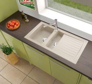 Détails sur Evier de Cuisine Évier Encastré Granit Mineralite 100x50 Beige  respekta
