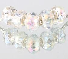 white AB 5pcs MURANO Crystal bead LAMPWORK fit European Charm Bracelet #520
