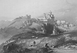 ITALY-Town-amp-Convent-of-Piazza-155-Years-Old-Antique-Print-Engraving