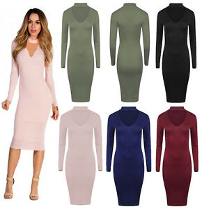 New-Womens-Ladies-Long-Sleeve-Choker-V-Neck-Midi-Dress-Knee-Length-Plus-Size