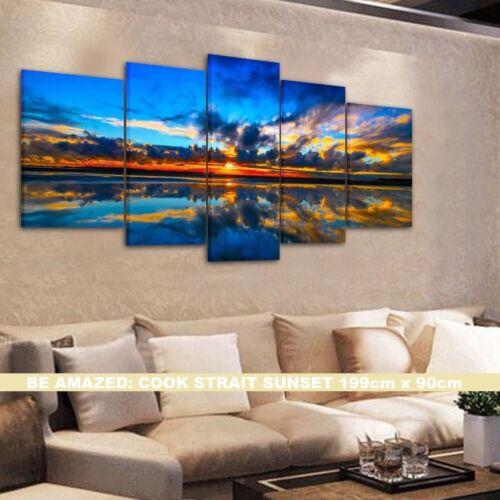 Modern Art EXTRA LARGE SPLIT FRAMED CANVAS PRINTS !! BEAUTIFUL BLUE SUNSET