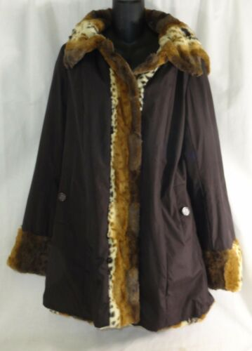 Reversible Basso Aftagelig Small Faux Hood Toggle Fur W Brown Dennis Coat 45dwqd