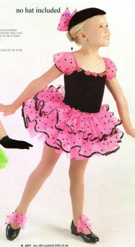 NWT Dotted Dance Costume Ruffled Organdy skirts Black Velvet Puff Sleeve TAP