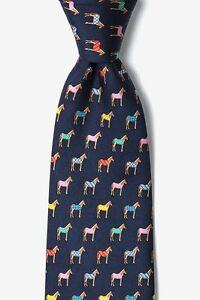 Alynn 100/% Silk Blue Horse Blanket Horse Racing Kentucky Derby Necktie Tie