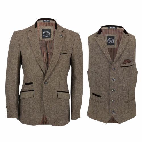 da o da aderente Giacca tweed vintage giacca velluto gilet in marrone uomo con di uomo C15PPKq