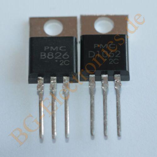 1 x 2SB826 /& 2SD1062 2 komplementär Transistoren 40W 50V 12A  PMC TO-220 2pcs