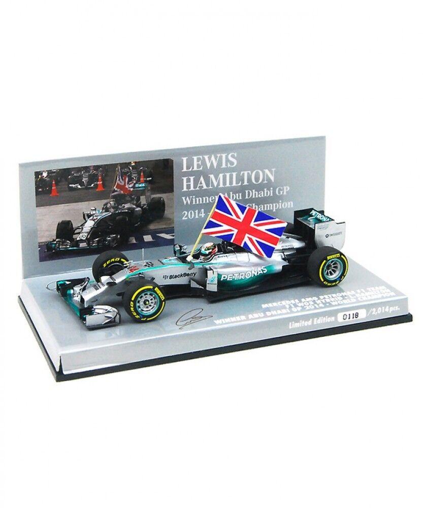 Neuf Minichamps 1 43 Mercedes Petronas AMG W05 Abu Dhabi 2014 Hamilton Winner