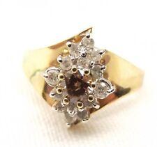 Vtg 14K Gold Diamond Cluster Ring Sz 6 .24 Carat Champagne Diamond Cognac Center